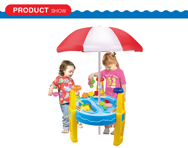 High cost performance children favorite plastic 29pcs sand water table with umbrella