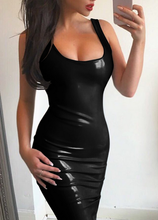 B32284A Hot Selling sexy sleeveless cross back mini latex dress for women