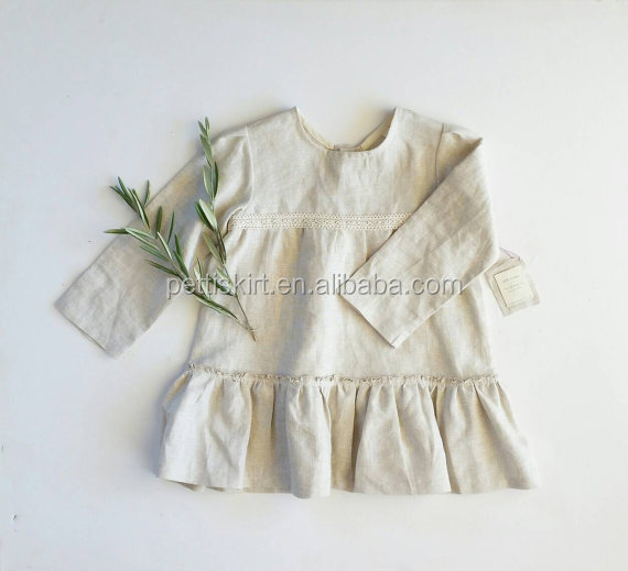 Perfect for casual autumn baby Elissa dress little girl vintage-look beige linen dress