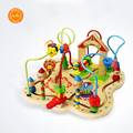 Wooden Classic Large Wire Beads Maze Wooden Toys Around Beads Maze Baby Kids Intellectual Early Educational Toys