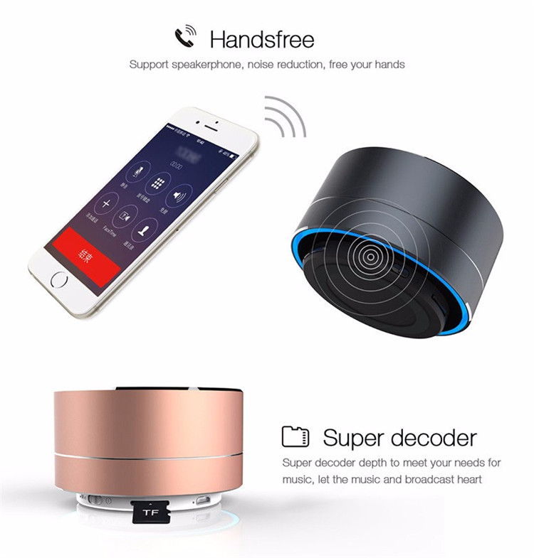 Amazon Best Selling Metal Bluetooth Wireless Speaker with FM Radio and TF Card Play Mini Portable Speaker with Light