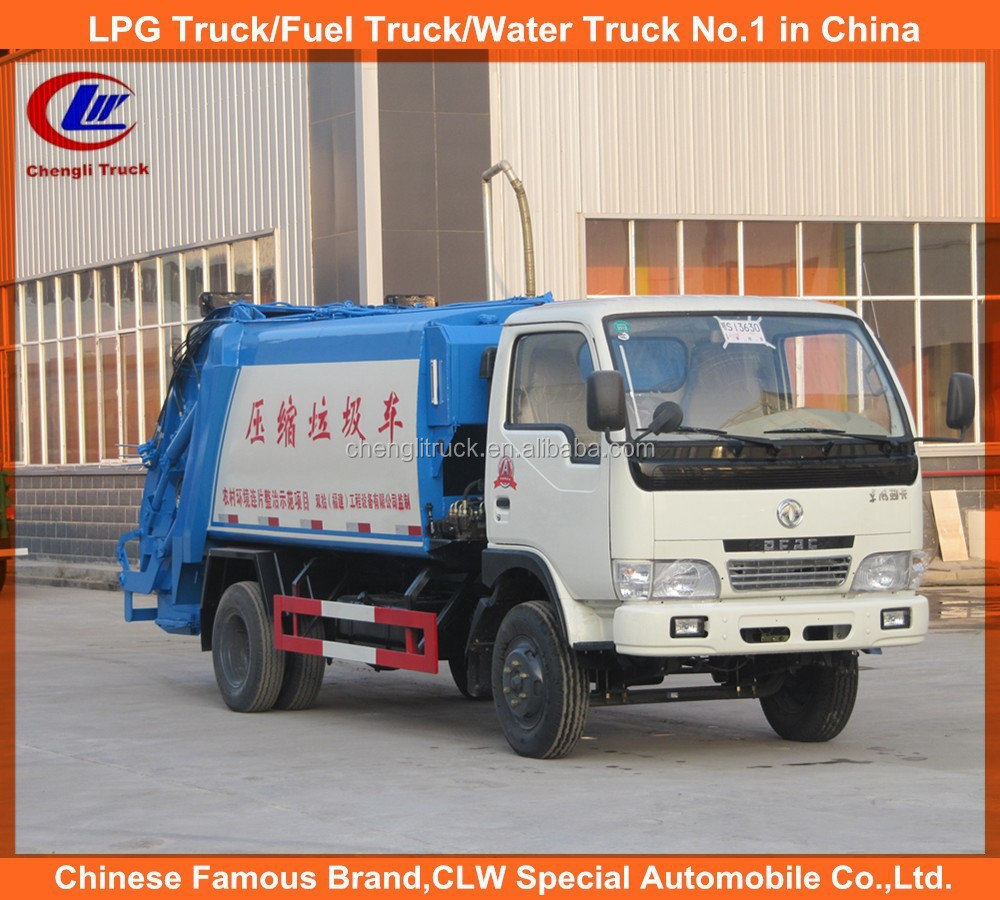 Dongfeng 4cbm compression garbage truck, China mini compressed garbage truck, 5cbm compressed garbage trucks