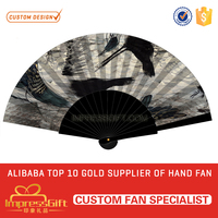 Wholesale customized summer black wooden hand fan for ad