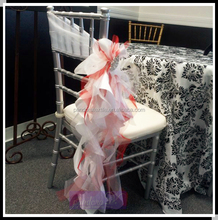 Fancy organza curly willow chair sashes for weddings