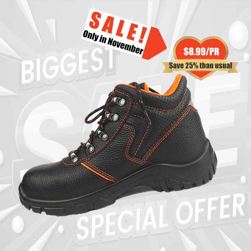factory fashionable safety shoes black knight safety boots men