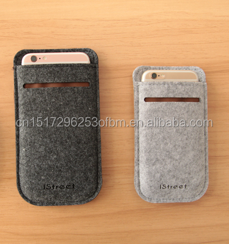 polyester Felt mobile phone cover/wholesale mobile phone felt bag made in China