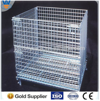 foldable galvanized pallet Folding Steel Wire mesh cage