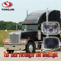 "Fit 5"" x 7"" Sealed Beam LED Square Die-casting Aluminum Housing Headlights Head Lamps Chrome with DOT approval"