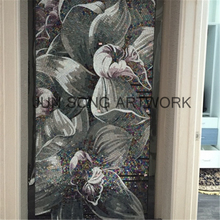 MFL-BF01-D Handmade Purple Flower Design Wall Tiles Bathroom Craft Decoration Tiles Glass Mosaic