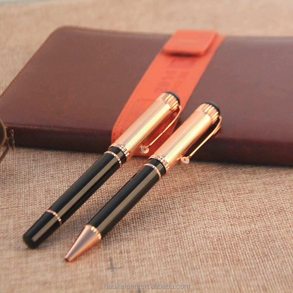 Rose gold metal roller/ball point pen brands logo corporate pen office stationery gift set