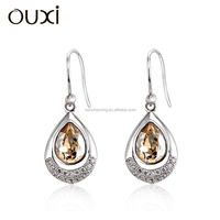 OUXI unique design crystal jewellery woman dangling earrings