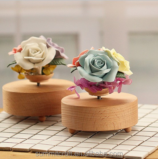 3D flower carousel music box,woden wooden music box