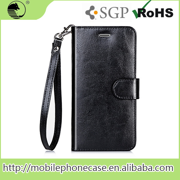 Card Slot PU Leather Case for iPhone 6s 4.7'' with Stand Function and Hand Chain