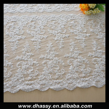 wholesale 2015 dhorse bridal border lace/hand beading bridal lace/100% Eco-friendly embroidery flower designs lace for DH-EF373