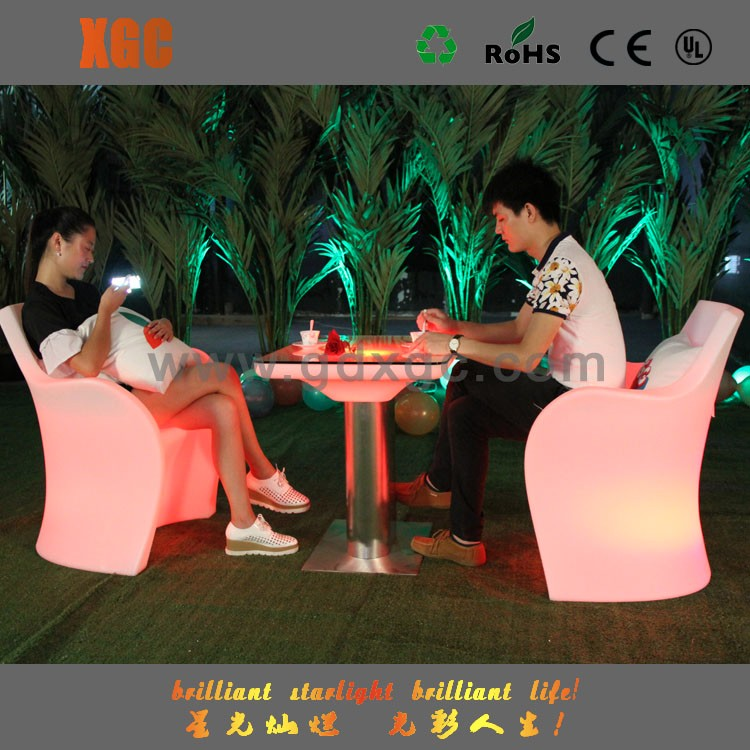 Multi color plastic led luxury living room molded plastic bench