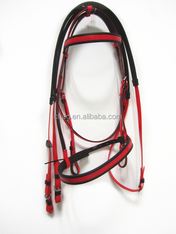 equestrian wholesale pvc horse bridle and rein with flash noseband