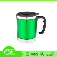 16oz wholesale print logo coffee food safety stainless steel travel mug silicone sleeve lid