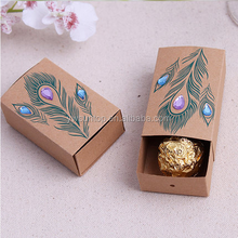 Hot selling Jeweled Peacock Kraft Wedding Favor Boxes