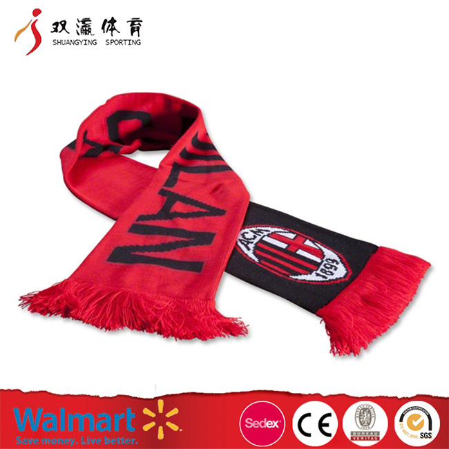 red football scarf for cheeri,promotion polyester soccer scarf,custom different material acrylic satin or fleece fan scarf