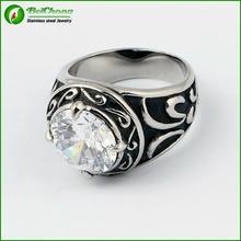 Finger jewelry white big stone men's silver ring
