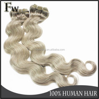 Factory hair wholesale top quality human hair extension top quality grey remy human hair weave