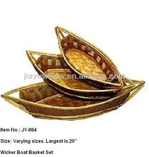 Boat shaped willow wicker basket Varying size