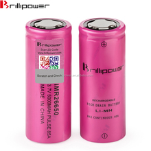High capacity 26650 mod batteries Brillipower imr26650 3.7v rechargeable li-ion battery pink 26650 vape battery