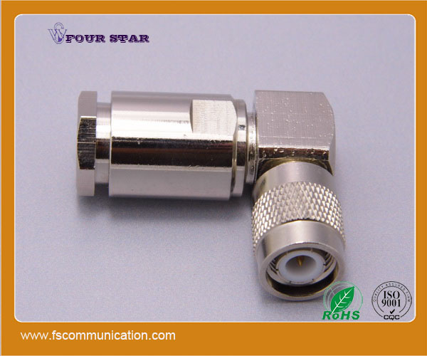 TNC male right angle clamp connector for LMR400 cable C