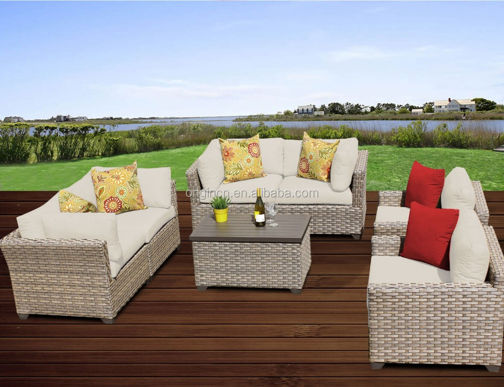 Commercial restaurant waiting room or patio used modern rattan furniture outdoor classic sofa set italian