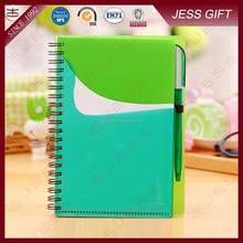 Cheapest custom logo PP spiral notebook with pen gift set