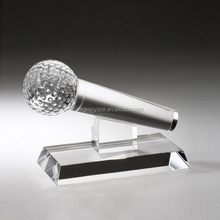 Hot sale high quality modern design laser Crystal Microphone Shape Award Trophy for business gift/ office decoration