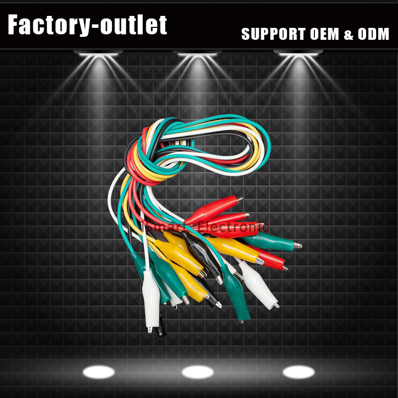 Alligator Clip Lead Wire Crocodile Cable 50cm For Testing 5 Colors 10-Pack