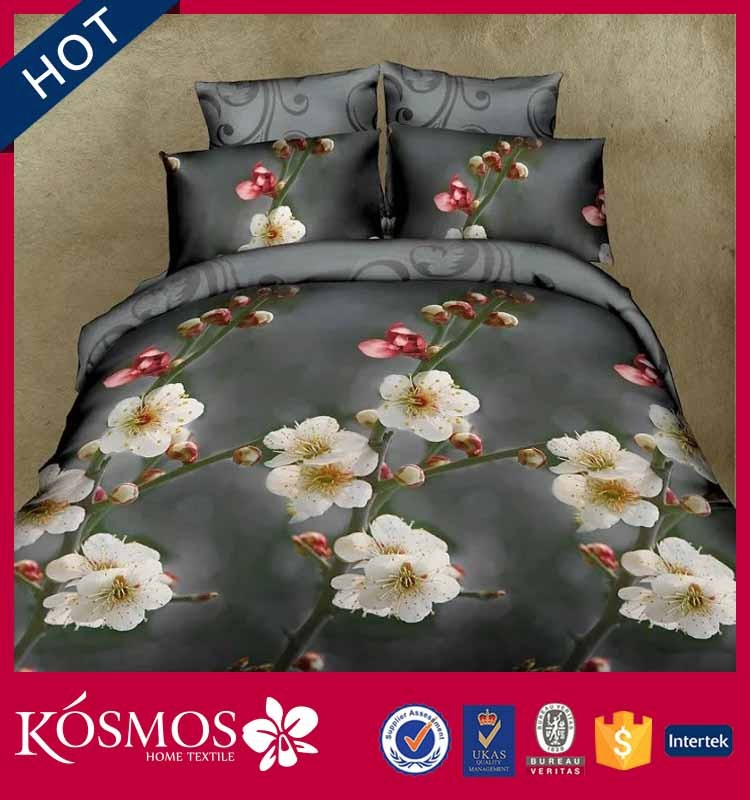 new comfortable 6 pieces king size fancy bedding flower printing 3d bed comforter set 100%polyester