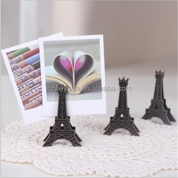 Korea Stationery Vintage Eiffel Tower Wedding Gift Seats Metal Clip Creative Name Card Note Memo Photo Clip Holder