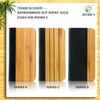 2013 new design book style leather bamboo case for apple iphone 5 with best price and high quality