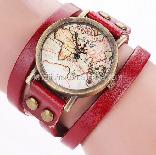 Vintage map printed watch face double wrap genuine leather quartz watch for ladies wholesale