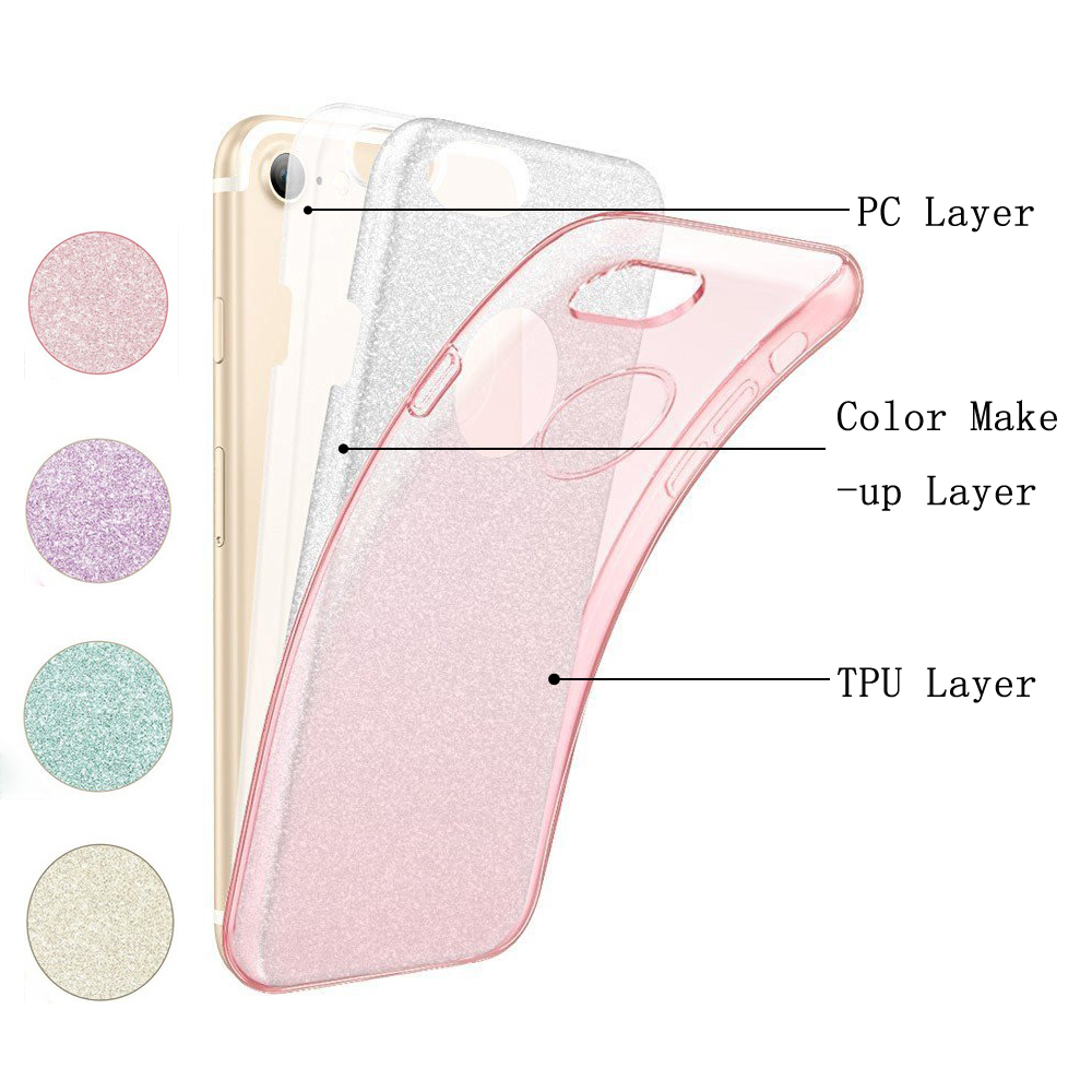 C&T 3 Layer Luxury Protective Hybrid Crystal Sparkle Glitter Hard Case Cover For iPhone 7