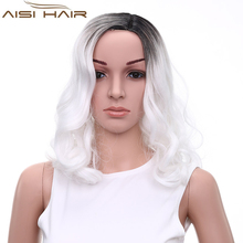 Fashion Ombre Black and White Color Long Wavy Style Synthetic Hair Machine Made Cosplay Wigs for Party