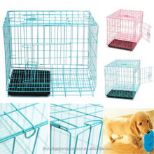 Folding Pet Crate Dog Cages Steel Animal Kennel Playpen With Tray Pink Blue Pink Color