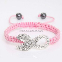 Fashion crystal Autism awareness ribbon charm woven handmade bracelet with pink rope