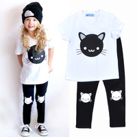 2016 Baby Girls Clothing Set Fashion Spring Summer 2 Pieces Boys Suits Cat T Shirt + Pants Bobo Choses Children Clothes Set 2-7T