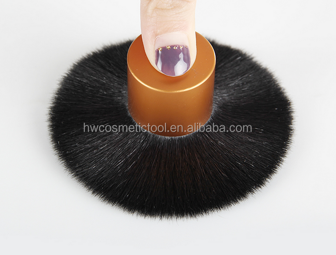 OEM Goat hair dusting powder brush with metal cosmetic holder