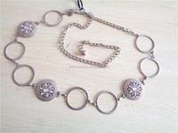 Ladies garment fashion bling metal chain waist belts