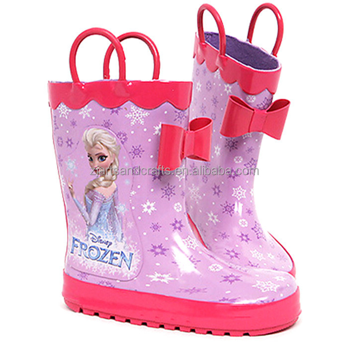 Princess design half rubber frozen boot rain boot for girls with handles