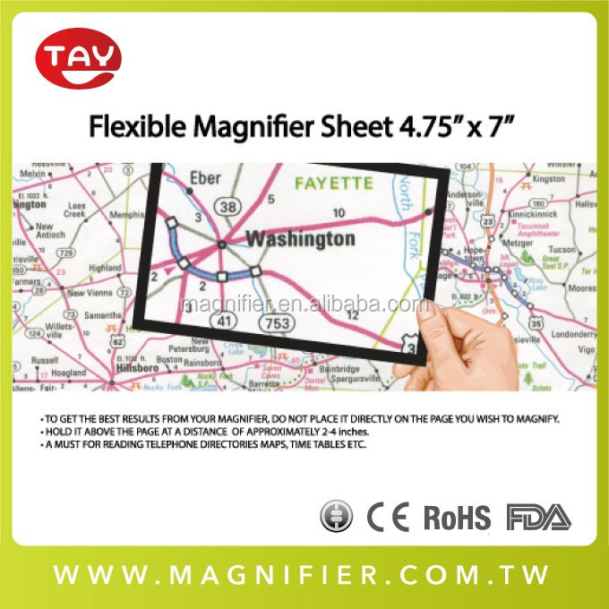magnifying reading aids for charts maps and drawings for elderly plastic material magnifier