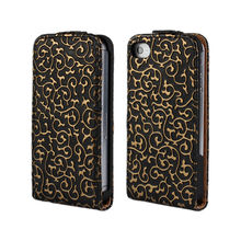 Royal Court Flower Leather Flip Case for iPhone 4 4S