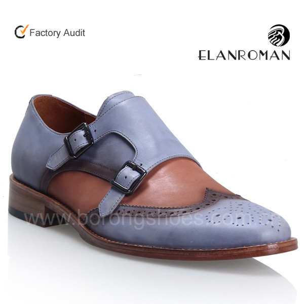 High class Double monk-straps leather casual dress mens shoes for formal party