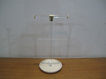 Acrylic Single Bangle Bar with Ceramic Round Base Jewelry Holder