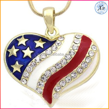 Hot Selling newest patriotic America Heart enamel star flag pendant necklace