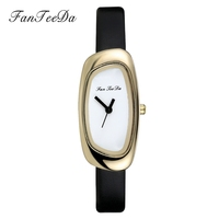 FanTeeDa Top Luxury Brand 2017 Women Watches Thin Leather Gold Color Simple Casual Design Quartz Gift Wrist Watches For Women